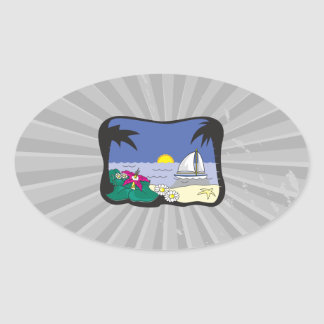sailboat in paradise graphic oval sticker