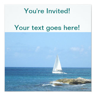 Sailboat in the Ocean 13 Cm X 13 Cm Square Invitation Card