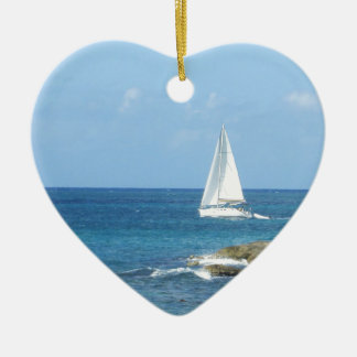 Sailboat in the Ocean Ceramic Heart Decoration