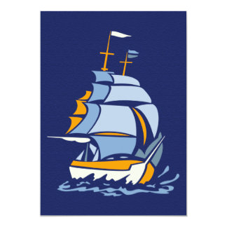 Sailboat invitation, customizable 13 cm x 18 cm invitation card