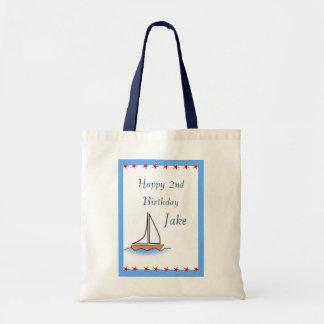 Sailboat Nautical Birthday Budget Tote Bag