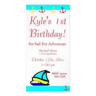 Sailboat Nautical Birthday Custom Photo Card