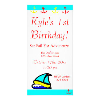 Sailboat Nautical Birthday Photo Card Template