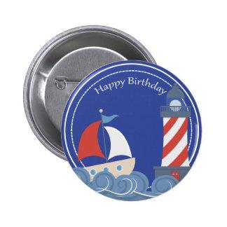 Sailboat Nautical Happy Birthday Button 2 Inch Round Button