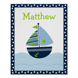 Sailboat Nautical Nursery Wall Art Name Print
