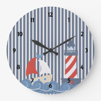 Sailboat Nautical Theme Childrens learning Clock