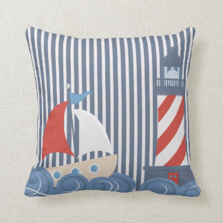 Sailboat Nautical Theme Pillow