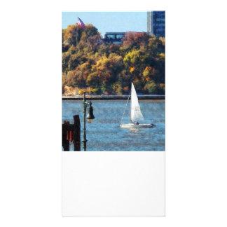 Sailboat Near Chelsea Pier Photo Greeting Card