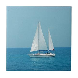 Sailboat on Caribbean Ceramic Tile