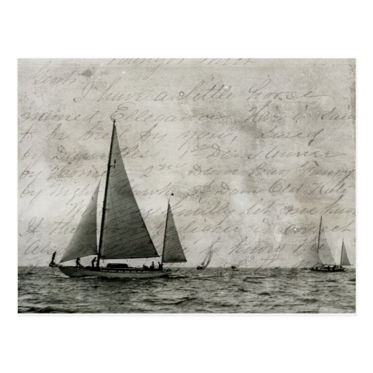 Sailboat on Lake Michigan, Boats at Sea Antique Postcard