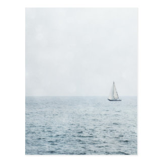 Sailboat on Misty Blue Ocean Water Sail Boats Postcard