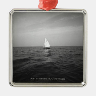 Sailboat on ocean Silver-Colored square decoration