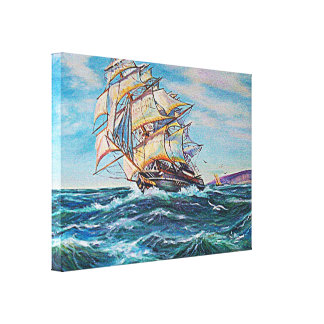 Sailboat on Rough Waters Oil Painting Canvas Canvas Print