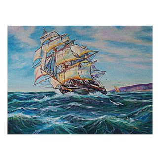 Sailboat on Rough Waters Oil Painting Framed Print