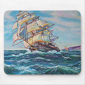 Sailboat on Rough Waters Oil Painting Mousepad
