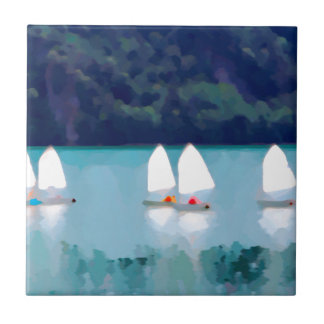 sailboat on the lake small square tile