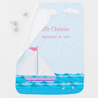 Sailboat On The Sea In Pinks Personalized Baby Blanket
