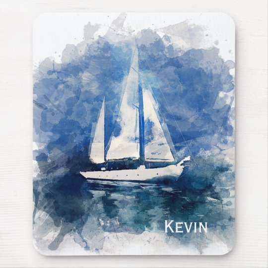 Sailboat Painting Personalised Mouse Pad