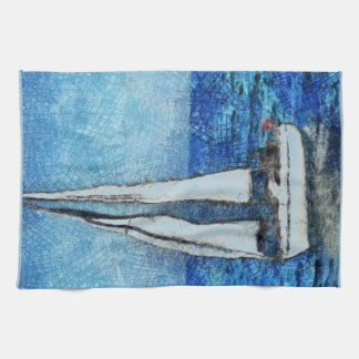 Sailboat painting tea towel
