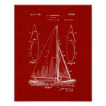 Sailboat Patent - Burgundy Red Poster