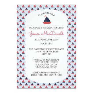 Sailboat Pattern - 3x5 Baby Shower Invitation