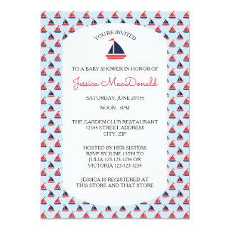 Sailboat Pattern - Baby Shower Invitation