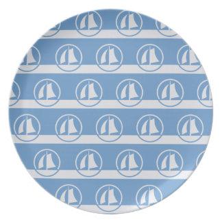 Sailboat pattern custom color plates