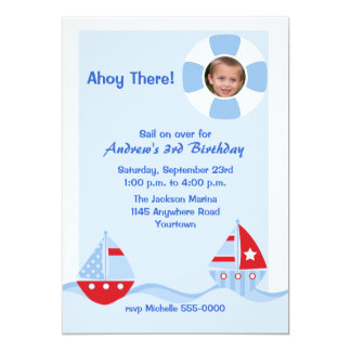 Sailboat Photo Birthday Invitation