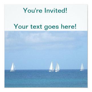 Sailboat Race 13 Cm X 13 Cm Square Invitation Card