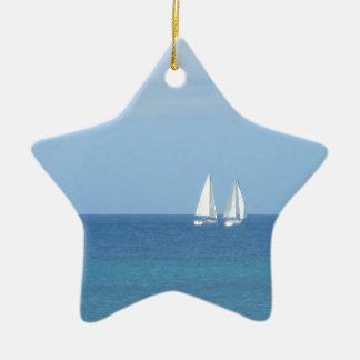 Sailboat Race Ceramic Star Decoration