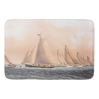 Sailboat Race Yachts Ocean Regatta 1854 Bath Mat