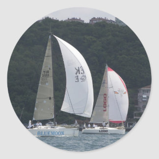 Sailboat Racing Classic Round Sticker