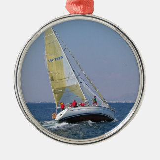 Sailboat Racing On Mar Menor Silver-Colored Round Decoration