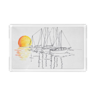 Sailboat Reflection | Concarneau, Brittany Acrylic Tray