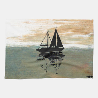 SailBoat Reflections CricketDiane Ocean Stuff Tea Towel