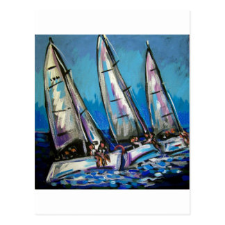sailboat regatta postcard