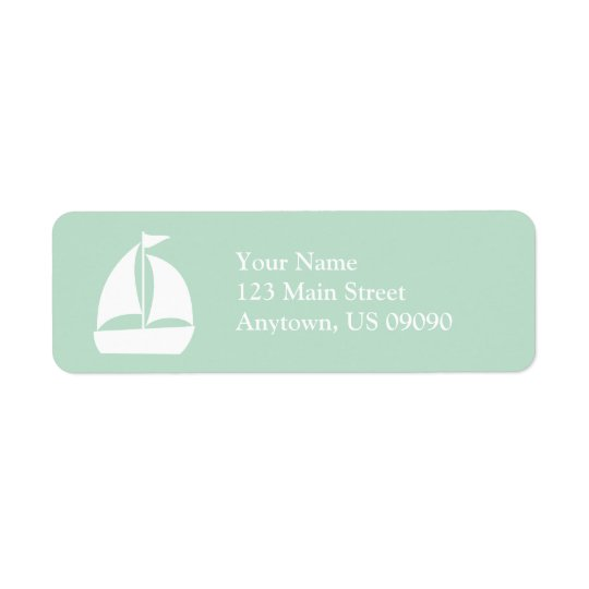 Sailboat Return Address Label (Sage Green / White)