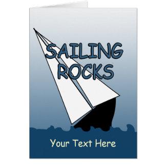 Sailboat Sailing Rocks Custom Greeting Card