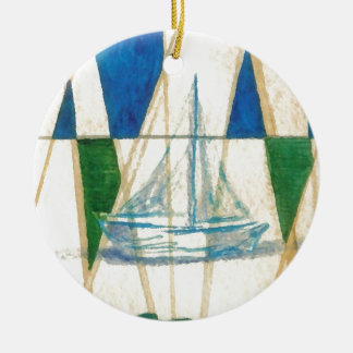 Sailboat Sailing Watercolor Vintage Look Art Round Ceramic Decoration