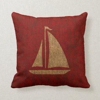 Sailboat Silhouette in Rustic Red Throw Cushions