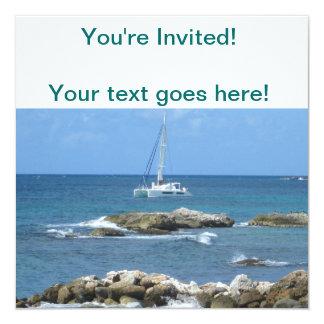 Sailboat St. Maarten 13 Cm X 13 Cm Square Invitation Card