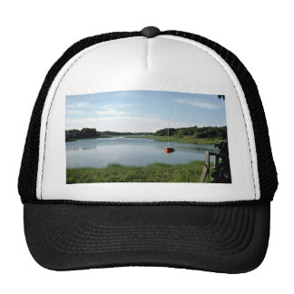 Sailboat, Stepstone Creek, Cape Cod, Massachusetts Mesh Hats