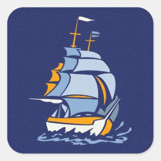 Sailboat stickers, customizable square sticker