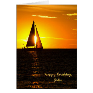 Sailboat Sunset Birthday Card