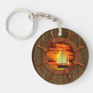 Sailboat Sunset Double-Sided Round Acrylic Key Ring