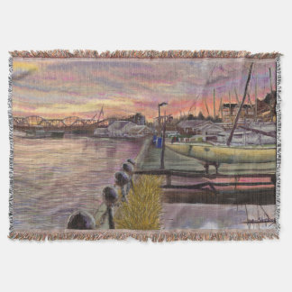 Sailboat Sunset on the Mississippi River Throw Blanket