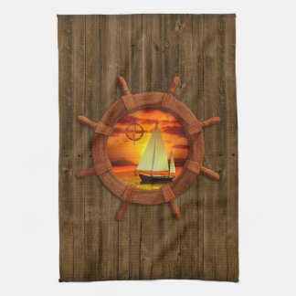 Sailboat Sunset Tea Towel
