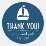Sailboat Thank You Labels (Dark Navy Blue) Round Sticker