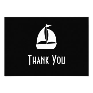 Sailboat Thank You Note Cards (Black) Announcement