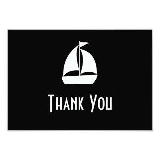 Sailboat Thank You Note Cards (Black) 9 Cm X 13 Cm Invitation Card